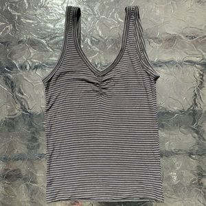 Green and White Striped Ribbed Tank Top
